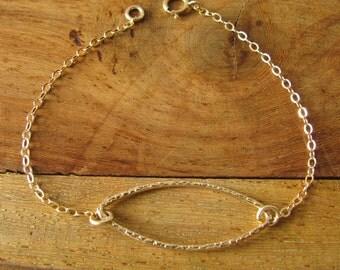 Gold bracelet, Geometric bracelet, Gold filled bracelet, 14k gold filled, Oval bracelet, Dainty Jewelry, minimalist bracelet, chain bracelet
