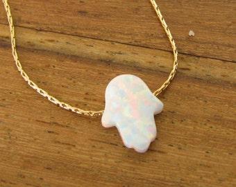 Opal hamsa necklace, Hamsa necklace, gold necklace,  14k gold filled, luck necklace, white hamsa necklace, hand necklace