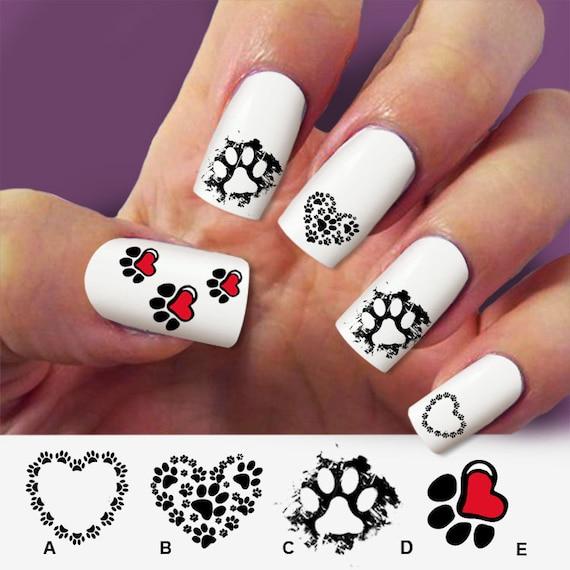 Zero The Dog Nail Designs: Items Similar To Paw Cat, Paw Dog, Nail Art, 60 Nail