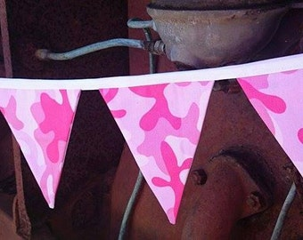 Fabric Bunting - Pink Camo - 205cm long - 10 double sided flags