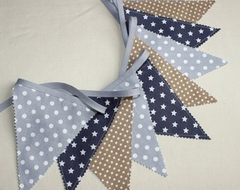 Bunting flag garland  Coffee & gray  - Baby nursery decor - Photography prop