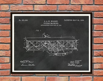 Patent 1906 Wright Brothers Airplane - Flying Machine Art Print - Poster - Wall Art - Aviation Wall Art - First Airplane