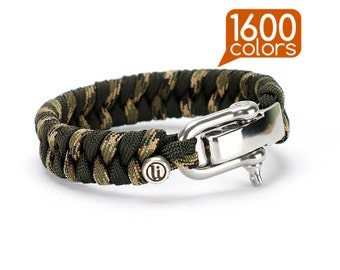 Survival paracord bracelet - Survival paracord bracelets «Fishtail» with stainless steel buckle, ability to choose one of the 1600 colors!