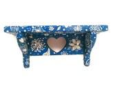 Teal Shelf - Teal Hand Painted Wooden Key Shelf, Key Rack, White Floral Design, Flowers