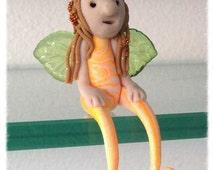 "Collectors Clay OOAK Mini Miniature Orange Marble 2.5"" Shelfy Fairy Guardian Angel"