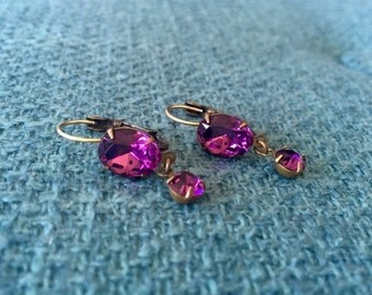 Swarovski Crystal Dangle Earrings with 14K Gold Ear Hook