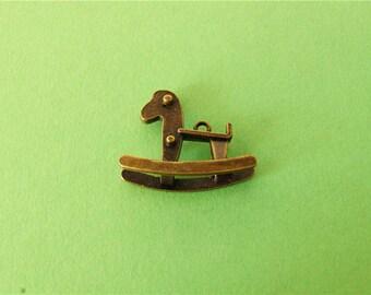 10 pcs  Antique Bronze Cute 3D Horses Charms Pendants ,20x25mm