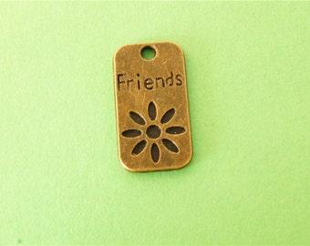 10pcs 20mm Antique Bronze Friends flower,disc pendant 13mm x 23mm