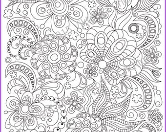 Adult coloring page doodle flowers, zentangle inspired, printable art original, PDF