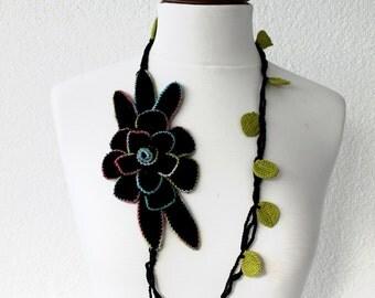 Big Black Flower, Hand Crocheted Lariat, Flower statement