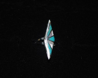 sterling silver ring size 5.75 with turquoise and mother of pearl