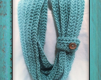 25% Off Sale Plus FREE SHIPPING USA | Crochet Infinity Scarf with Button Cuff