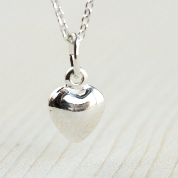 tiny heart necklace sterling silver heart necklace gift for. Black Bedroom Furniture Sets. Home Design Ideas