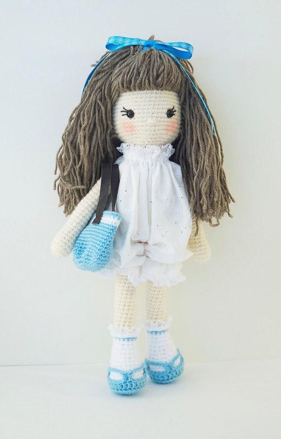 Amigurumi crochet doll Sweet girl doll in white lace romper