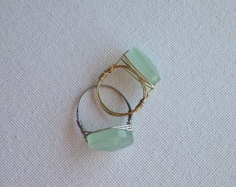 Seafoam ring // Mint Green Ring // Green Solitaire Ring