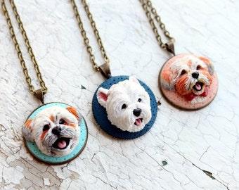 Custom dog portrait, custom dog jewelry, custom pet portrait, personalized pet jewelry, custom dog sculpture, polymer clay dog, pet picture
