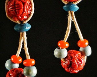 Beaded Earrings - Red and Turquoise beads dangle drop
