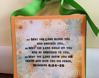 5.5 inch square, Wood Signs, Personalized, Gift Ideas, Prayer, God, Religious, Faith, Hope, Inspirational, Blessing, Numbers 6:24-26