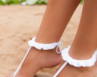 Crochet barefoot sandal, Barefoot sandals, Ruffle barefoot sandals, Beach wedding shoes, Footless sandals, Bridal barefoot sandals, Anklet