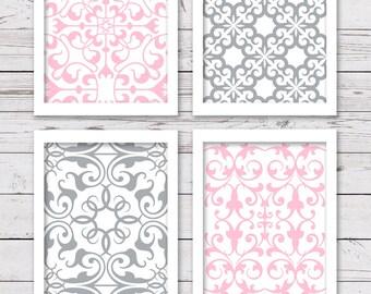 PRINTABLE Art Set, Printable Wall Art, Pink and Gray Art, Nursery Art, INSTANT DOWNLOAD, Girl Art, Printable Nursery Art, Bedroom Decor