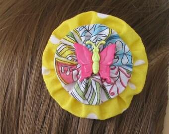 Pink & Yellow Butterfly YoYo Hair Clips, Butterflies, Polka Dots, eclectiKIDS