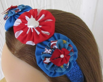 Red White and Blue Headband , Yoyo Headband , Polka Dots , Stars , Patriotic Headband , eclectiKIDS