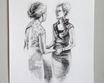 Custom Portrait - TWO figures - Charcoal