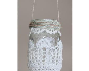 Hanging Kerr Mason Jar Doily Lantern or Planter