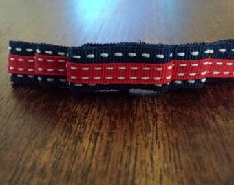 Navy & Red Stripe Bow
