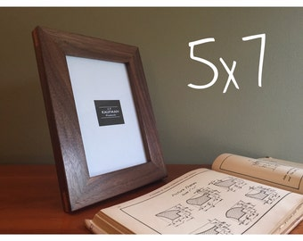 5x7 wooden picture frame walnut wood with cherry splines handmade glass single mothers day wooden picture frame