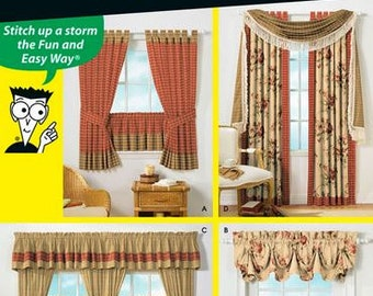 Simplicity Sewing Patterns for Dummies 4497 Window Treatments, Tab-Top Curtains, Traditional Curtains - new and uncut