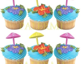 Umbrella Cupcake Toppers, Luau Cupcake Picks, Pool Party Cupcake Toppers