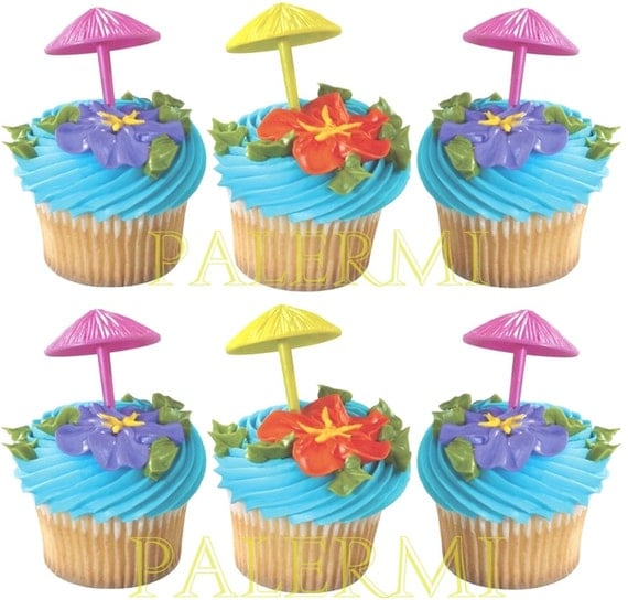 Umbrella Cupcake Toppers, Luau Cupcake Picks, Pool Party