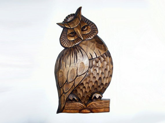 Wood sculpture of owl on a book relief handmade by wooodland