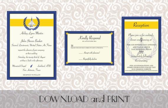 Army Wedding Invitations: Printable Air Force/Military Themed Wedding Invitation RSVP