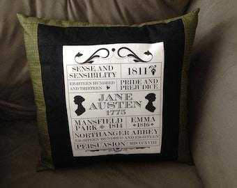 "Jane Austen Throw Pillow *Cover Only* (16"" x 16"")"