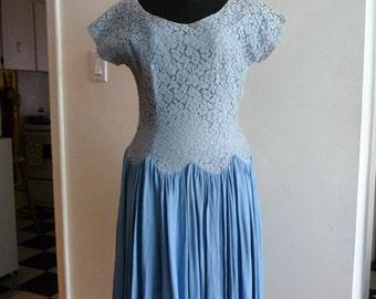 Vintage Pale Periwinkle Lace Dress