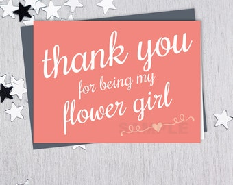 For Being My Flower Girl // Wedding Thank You Card DIY // Elegant Lettering on Coral Printable PDF // Classic Elegance ▷ Instant Download