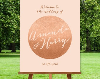 Rose Gold Wedding Welcome Sign / Rose Gold Welcome / Metallic Gold Glitter on Coral  / Custom Sign ▷ Printable File {or} Printed & Shipped