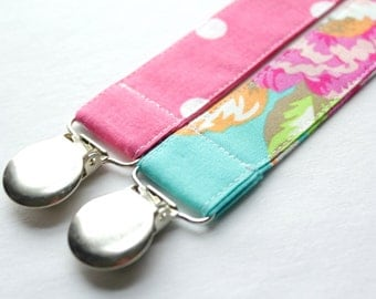 Modern Custom Made Pacifier Clips- Set of 2, Pink and Teal