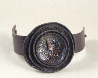Handmade women's braun leather bracelet, wristband