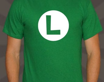 Green Luigi L Cosplay Shirt Sizes 2T - Adult 5XL (now including Ladies- Super Mario Brothers - Nintendo - Super Smash Brothers - Mario Kart