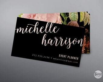Printable Floral Business Card - Printable Calling Card - Digital File - DIY