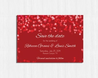 Red Save the date, Printable red save the date, Digital file, red wedding, Lights save the date card, elegant card, Red bokeh save the date