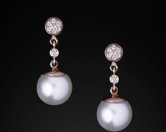Pearl and diamond earring 0.076Ct, Wedding Earrings 2in1,Gorgeous Earrings,Natural Pearls,Long Pearl Earrings