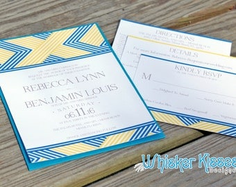 SAMPLE- Abstract Wedding Invitations, Blue and Yellow Wedding Invitations, Classic Wedding Invitations, Panel Pocket Invitations And RSVP