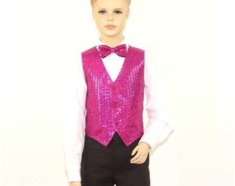 Kids  Fucshia Sequins Vest
