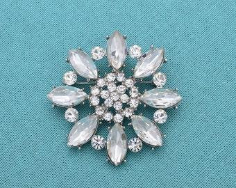Crystal Rhinestone  Bridal Brooch Bridal Brooch Rhinestone Silver Brooch Crystal Wedding Brooch