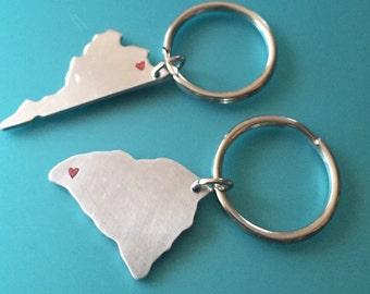 State-shaped College Keychain