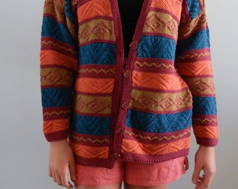80's Chunky Knit Cardigan by Pasta, Cosby Sweater Colors, Size M